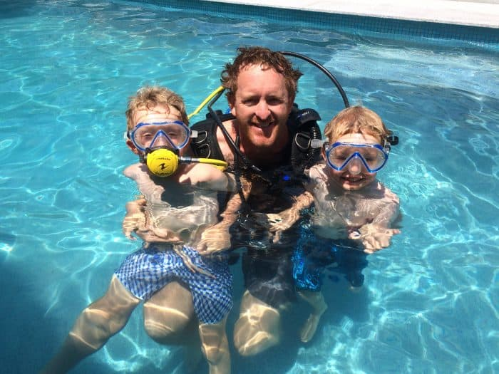 Paul and the boys in the swimming pool learning how to scuba dive