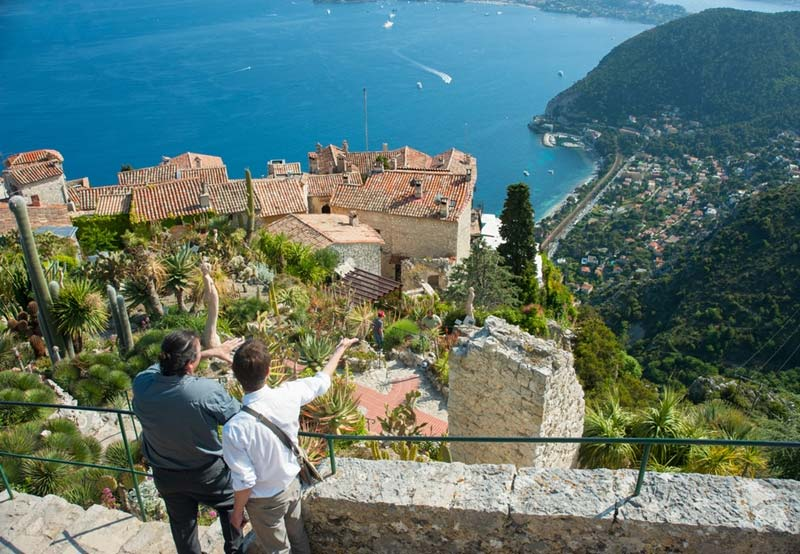 Scenic view of the Mediterranean coastline from the town of Eze on the French riviera