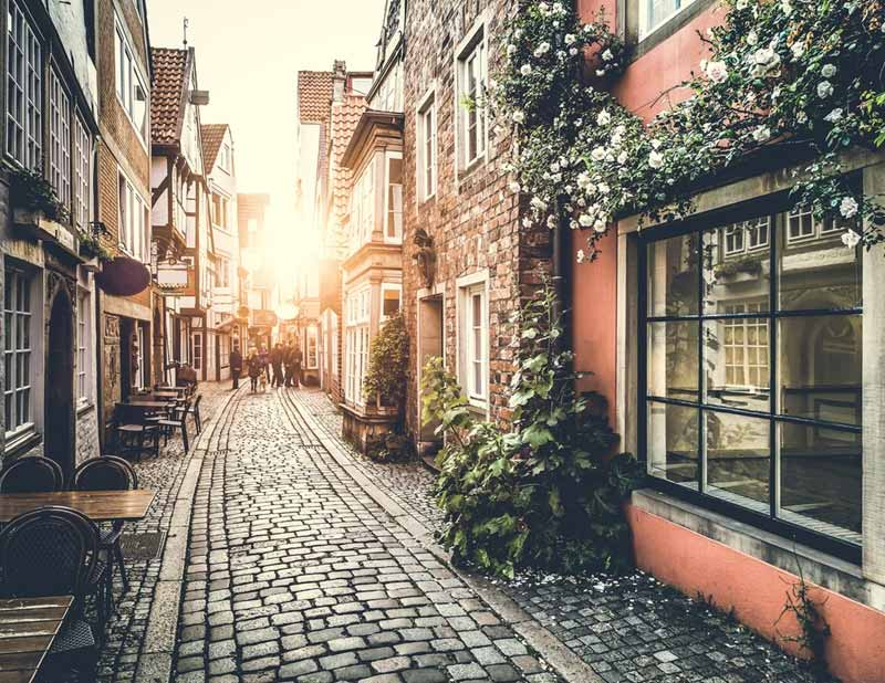 Old town in Europe at sunset with retro feel
