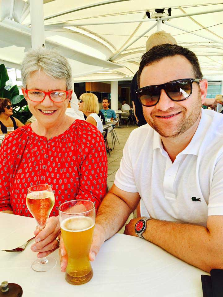 Kent Paroz and his mother enjoying a pint of beer.