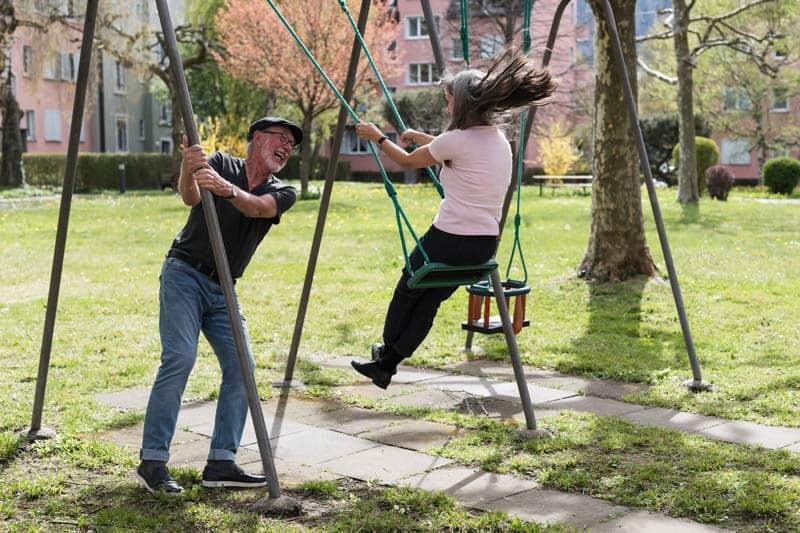 Cool stylish senior couple having fun outdoors.